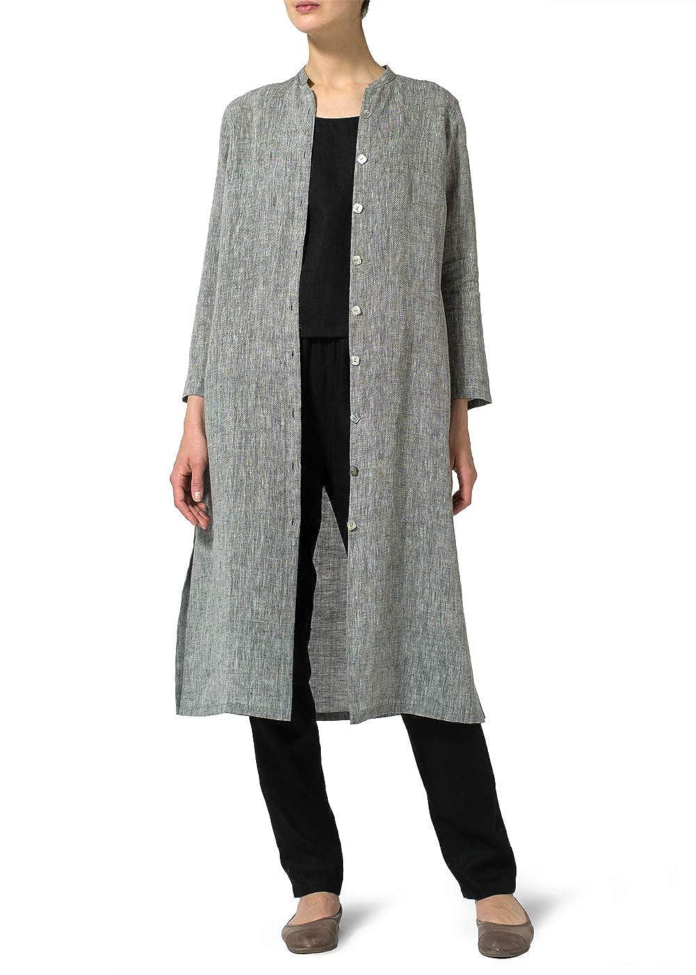 Vivid Linen Long Slim Shirt Dress