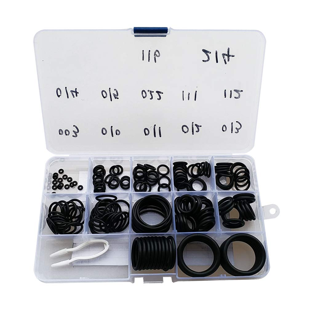 DYNWAVE 170Pcs Scuba Diving Rubber O-Ring Kit - 12 Sizes Assortment 70 Duro with Storage Case Organizer