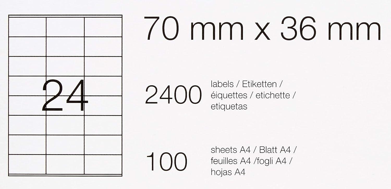 100 etichette 24 etichette per foglio 210.0mm x 297.0mm Basics 100 fogli 2400 etichette /& Etichette Multiuso Etichette Multiuso 70.0mm x 36.0mm 100 fogli 1 etichette per foglio