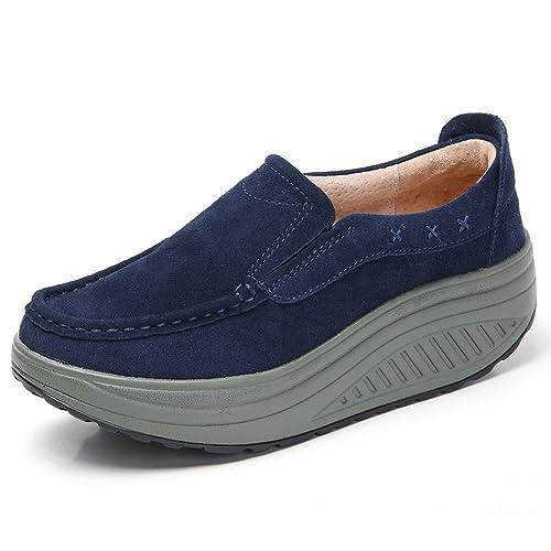Mujer Mocasines Plataforma Loafers Invierno Caliente Zapatos Zapatillas de para Caminar con Tacón Cuña Negro Azul Moda: Amazon.es: Zapatos y complementos