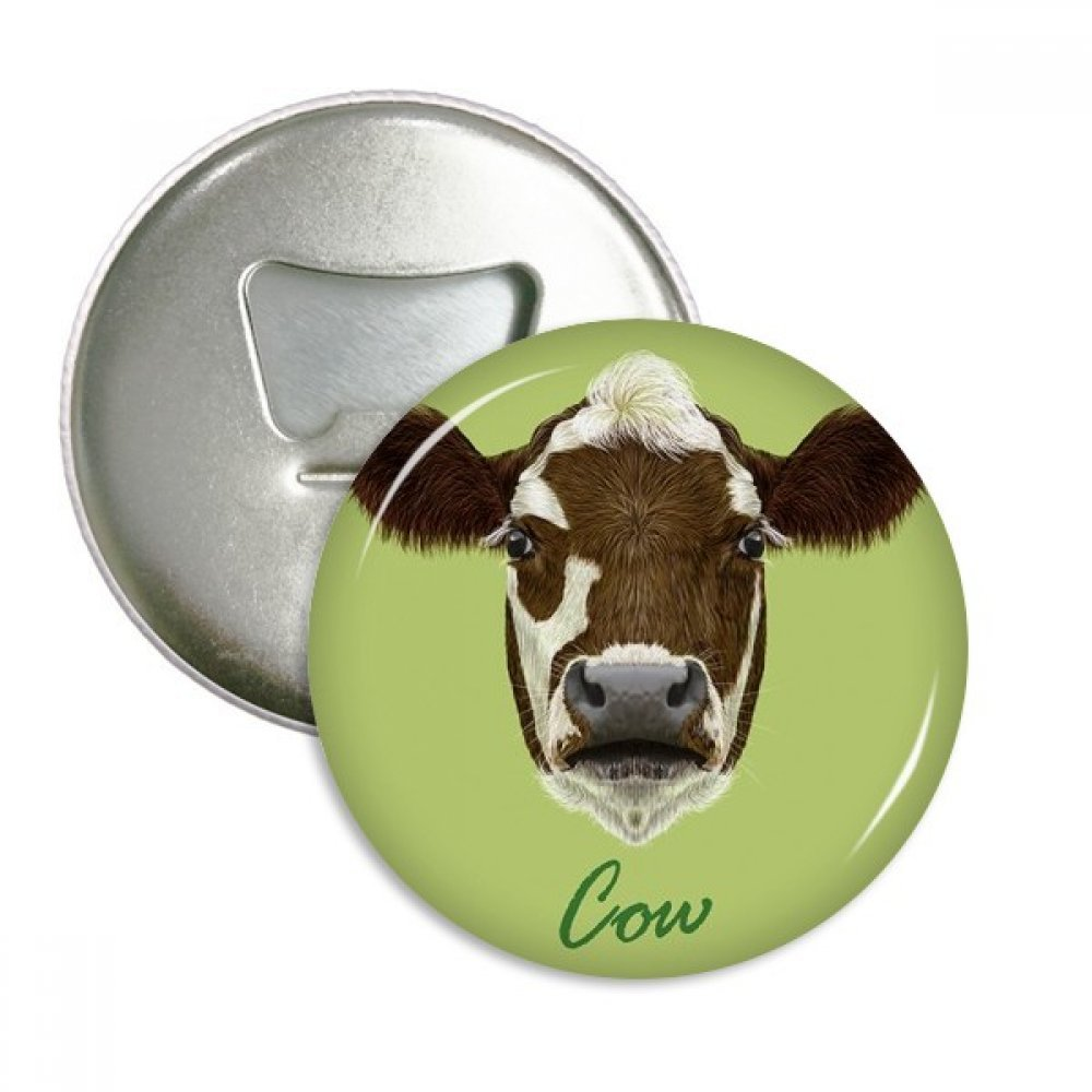 Brown-and-White Domestic Dairy Cow Animal Round Bottle Opener Refrigerator Magnet Badge Button 3pcs Gift