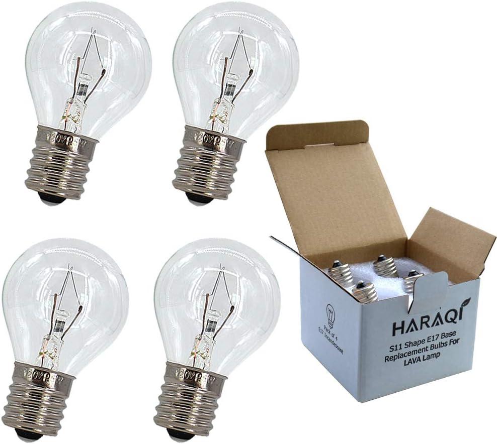 4 Pack S11 Intermediate E17 Base 25 Watt Bulbs for Lava Lamps,Replacement Bulbs for Lava Lamps,Glitter Lamps