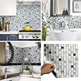 BEAUSTILE Decorative Tile Stickers Peel Stick Backsplash Fire Retardant Tile Sheet (Monocrome) (2, 12.2'' x 12.2'')