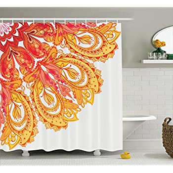 Mandala Decor Shower Curtain By Ambesonne Edge Of Pattern Detailed Paisley Forms Mystic Traditional