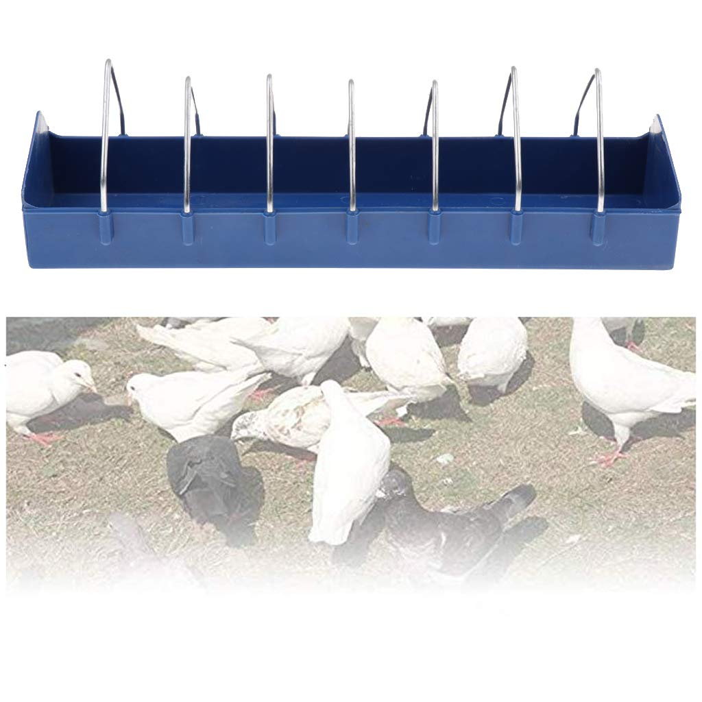 D DOLITY Bird Pigeon Poultry Trough Feeding Chicken Animal Farming Tools Case Blue 40x11x11cm