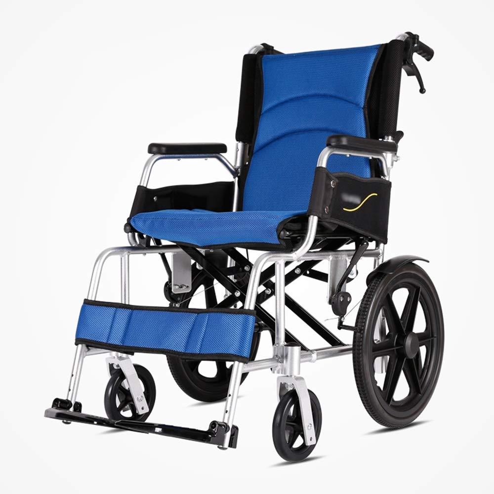 Super Kh® 車いす折りたたみ式アルミニウム合金超軽量携帯型車椅子ハンドブレーキ付きで自由に調節可能高齢者、障害者、運動能力の低下した人 * (色 : 青)  青 B07JMRC2GS