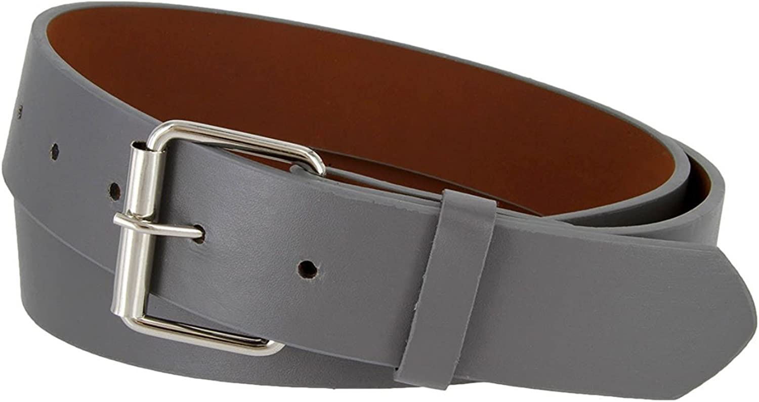 B570 Mens Genuine Leather Belt With Silver Roller Buckle VARIOUS COLORS 1 1//2 Wide