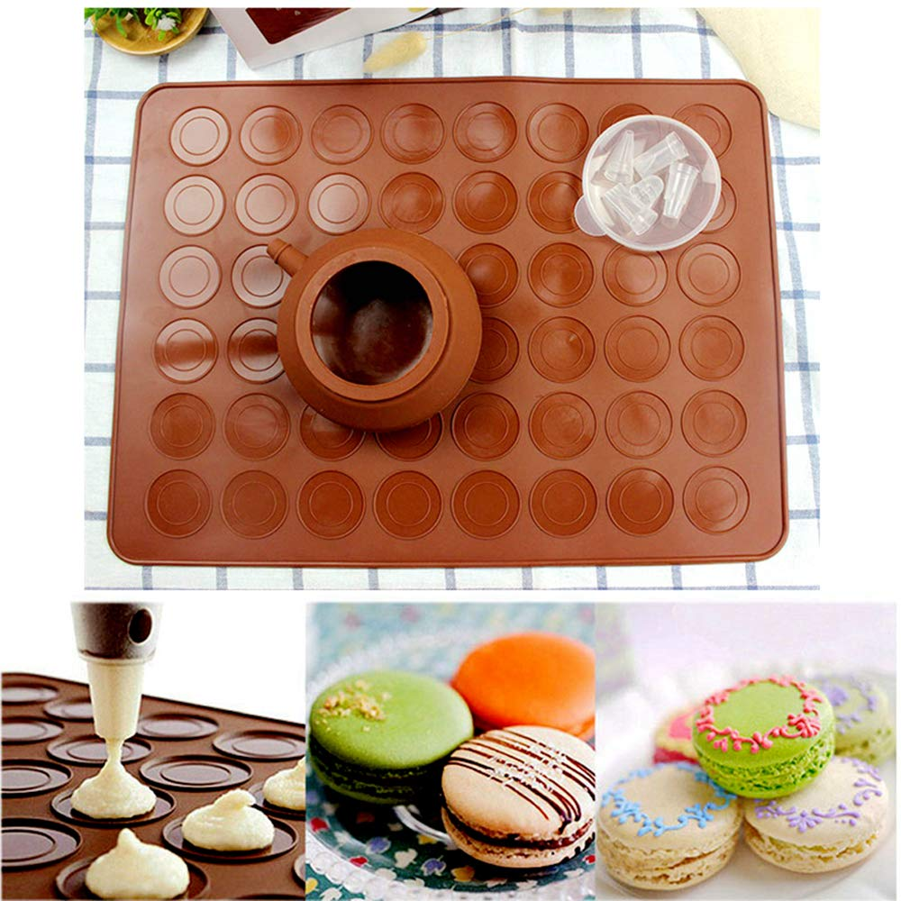 Macaron Baking Set, ZITTEE Macaron Kit Non Stick FDA Approved Silicone Mat for Macaron, Pastry and Cake, Fits Freezer, Microwave Oven, Dishwasher Safe, with Piping Pot and 4 Nozzles by ZITTEE