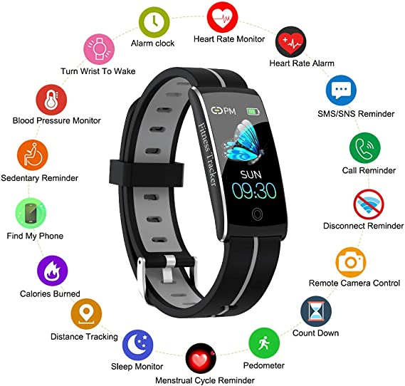 Fitness Tracker, Smart Watch with Heart Rate Blood Pressure Sleep Monitor for IOS Android, Slim Waterproof Fitness Tracker with Call Message Reminder, ...