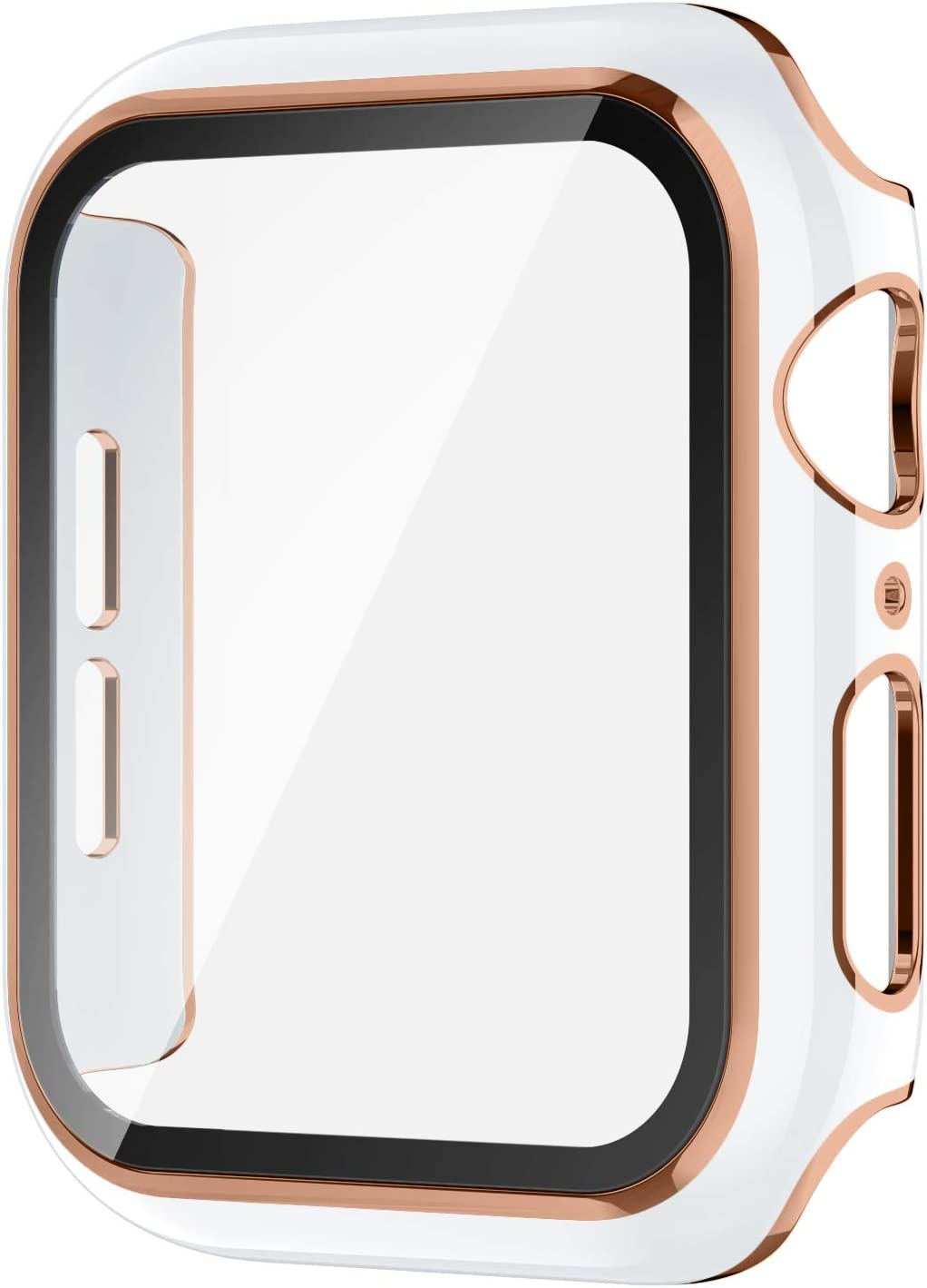 AVIDDA Case Compatible Apple Watch 38mm Built-in Tempered Glass Screen Protector, Rose Gold Edge White Bumper Full Coverage HD Clear Protective Film Cover for Women Men iWatch 38mm Series 3/2/1