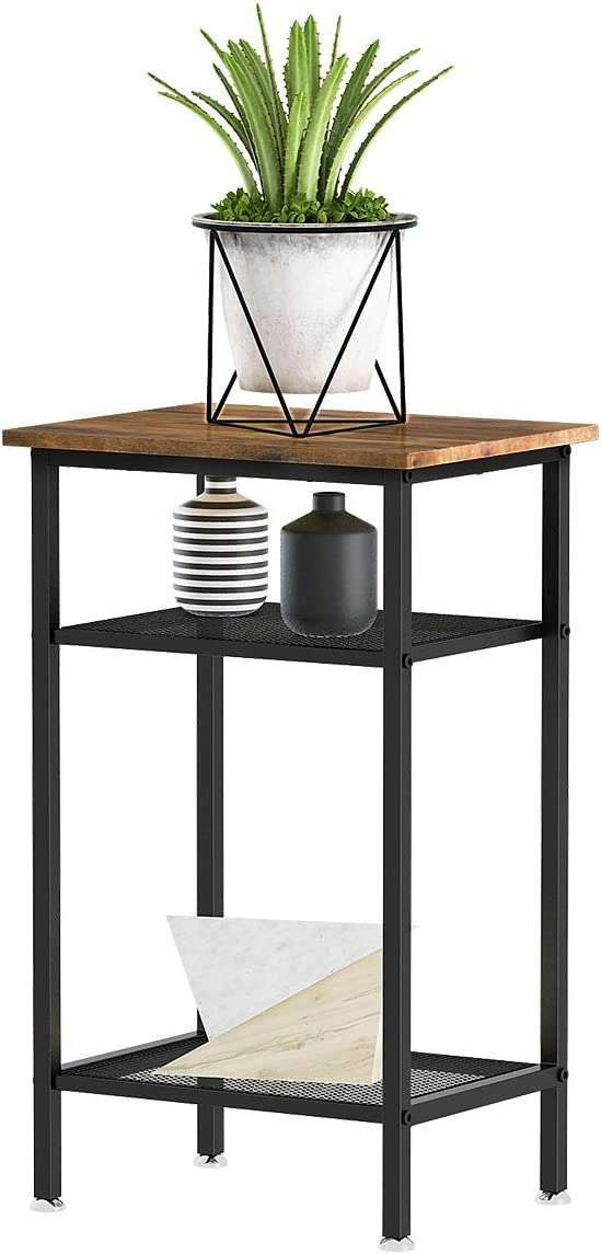 YITAHOME Console Table, Hallway Table with 2 Mesh Shelves,Sideboard Easy Assembly (Rustic Brown)