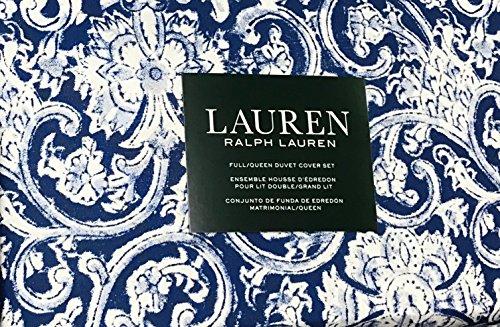 Ralph Lauren 3 Piece Duvet Cover Set - Floral Paisley Scrolls Pattern in Vibrant Navy Blue and Off White (Full/Queen) (Set Lauren Duvet Ralph)