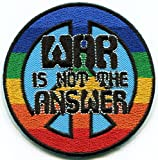 War is not the Answer retro 60s 70s peace sign embroidered applique iron-on patch S-1405