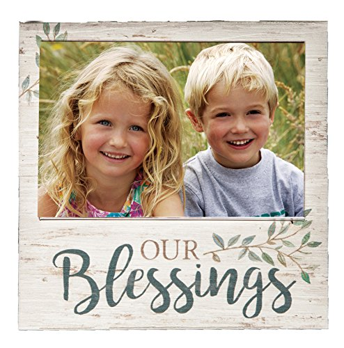 P. Graham Dunn Our Blessings Whitewash 7 x 7 Wood Box Wall Photo Frame Plaque