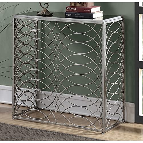 Convenience Concepts Gold Coast Tranquility Console Table, Silver / Black Glass