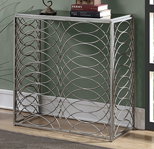 Glass Console (Convenience Concepts Gold Coast Tranquility Console Table, Silver / Black Glass)