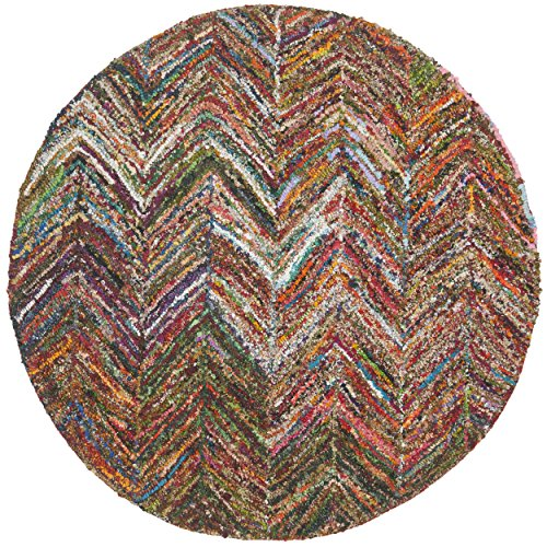 Safavieh Nantucket Collection NAN141B Handmade Abstract Chevron Multicolored Cotton Round Area Rug (4' Diameter)
