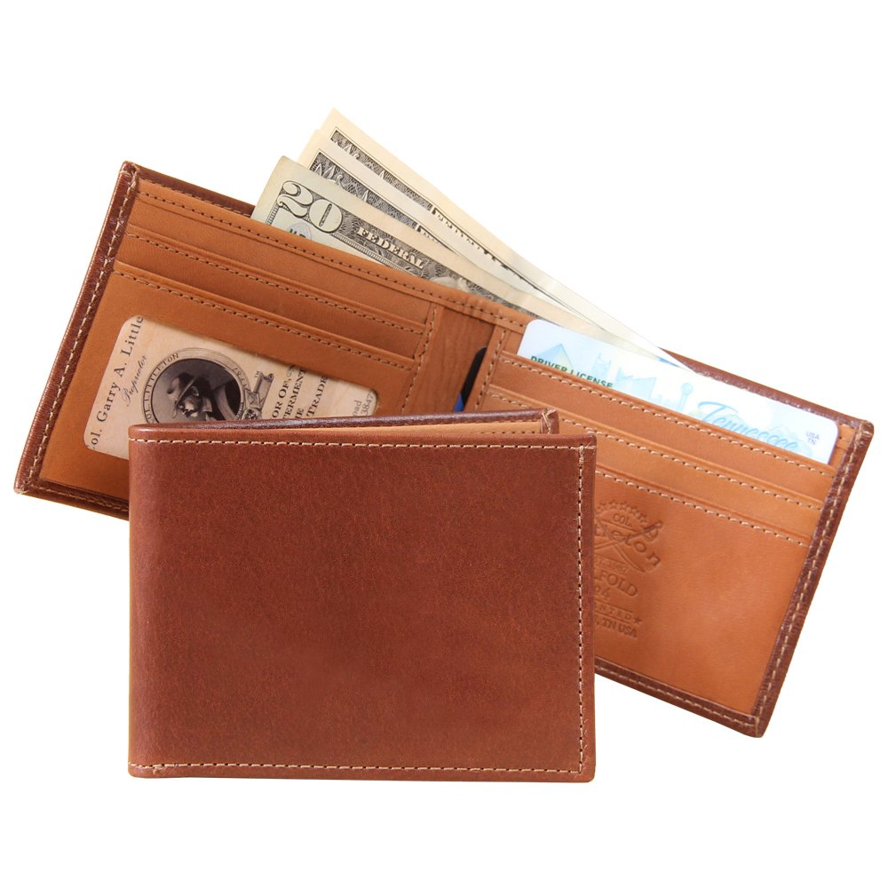 Mens Leather Billfold Wallet Classic Design USA Made Brown No. 4