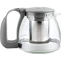 MINISO Glass Stainless Teapot-Grey with Infuser Tea Leaf Loose, 700ML