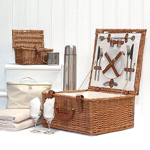 Luxury Quality Harpenden 2 Person Wicker Picnic Basket Set with Accessories - Gift ideas for Valentines, him, her, Birthday, Wedding, Anniversary, Corporate, Business, Thank you, Outdoor, Family (Unusual Gift Basket Ideas)