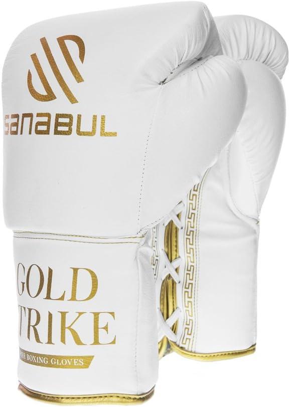SanabulゴールドStrike Professionalボクシンググローブ 白い Laces 14 oz
