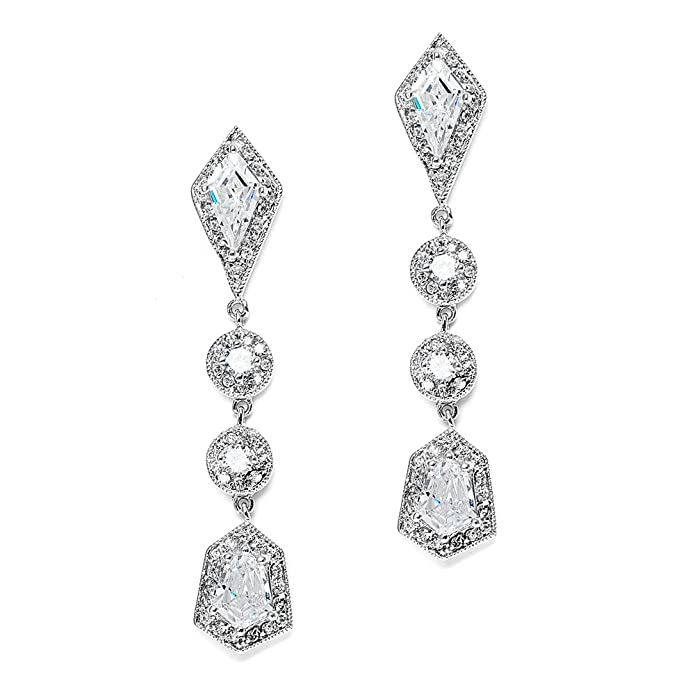 1920s Gatsby Jewelry- Flapper Earrings, Necklaces, Bracelets Mariell Empress & Noble Cut Cubic Zirconia Wedding Earrings - Art Deco Vintage Bridal Jewelry $21.99 AT vintagedancer.com