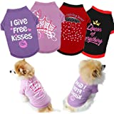 Yikeyo Set of 4 Dog Shirt for Small Dog Girl Puppy Clothes for Chihuahua Yorkies Bulldog Summer Pet Outfits Female Outfits Ts