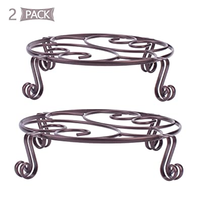 Yimobra 2 Pack Plant Stand for Flower Pot Heavy Duty Potted Holder Indoor Outdoor Metal Rustproof Iron Garden Container Round Supports Rack for Planter Bronze, Brown, 10.2 Inches : Garden & Outdoor