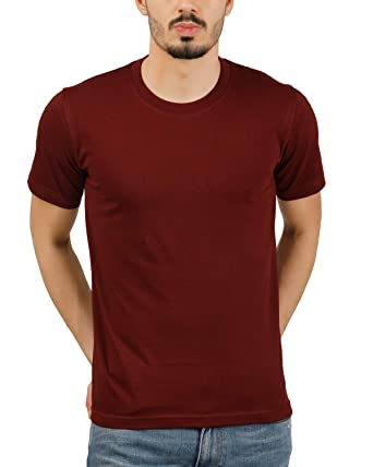 51eb7e723 Moonfy Men's Maroon Cotton Round Neck Solid Plain Regular Fit Half Sleeve T- Shirt: Amazon.in: Clothing & Accessories
