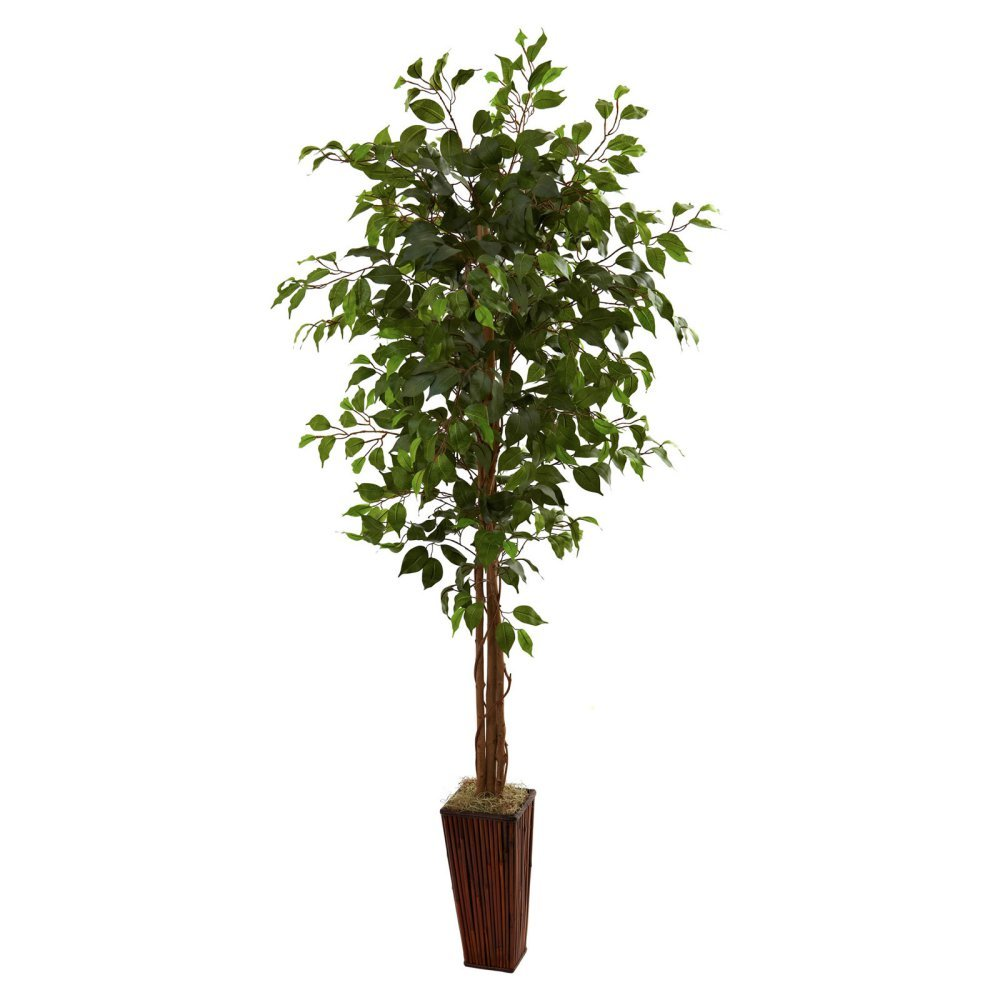 Nearly Natural 6 ft. Ficus Silk Tree with Bamboo Planter