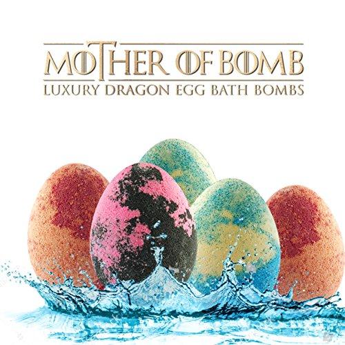 Egg Bath - Bath Bombs Gift Set - 5 Lush Dragon Eggs - 9oz Jumbo Bathbombs - Color Bath Bombs