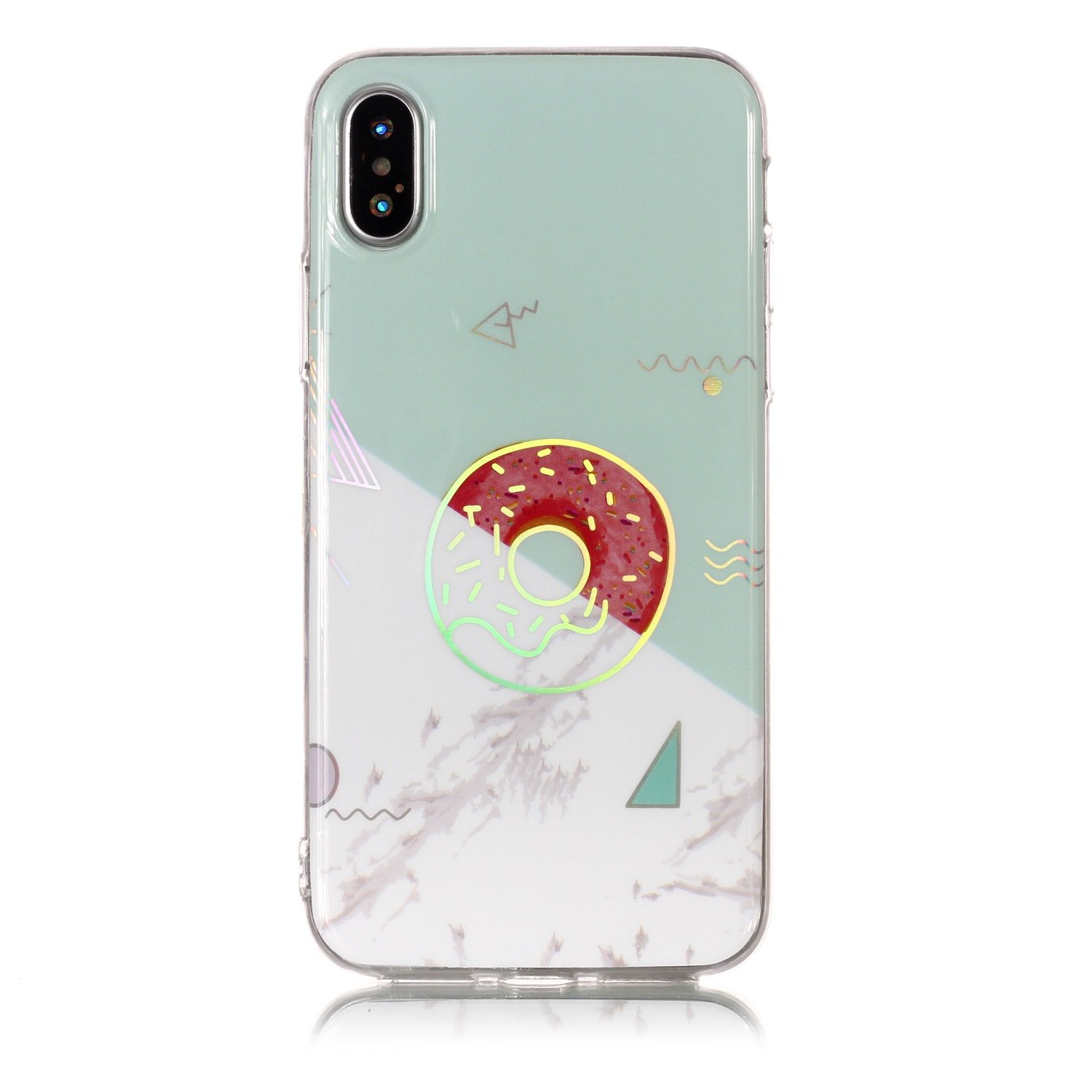 Cover for iPhone X,iPhone XS Case,BtDuck Silicone Case Marble Pattern Phone Case Transparent Clear Cover Glitter Case Shockproof Shell Soft Gel Case TPU Back Cover Bumper Phone Protective with Laser Design Crystal Clear Case Protective Rubber Cover for iP