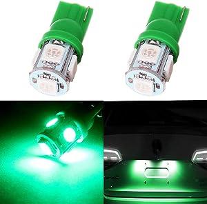 Frontl T10 LED Dash Light Bulbs Green 5-5050 SMD LED Bulbs 194 168 LED Light Bulbs Instrument Panel Gauge Cluster Indicator Lights,2Pack