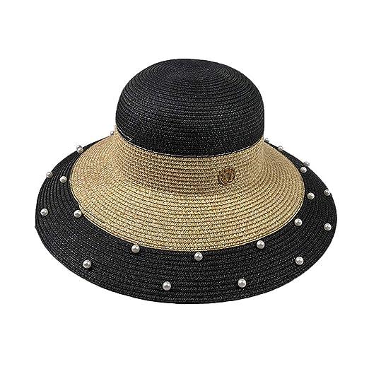 3d4faa00 Amazon.com: Outique Summer Travel Wide Brim Hat Beach Sun Hats for Women  UPF Woman Foldable Floppy Travel Packable UV Hat Cotton Black: Clothing