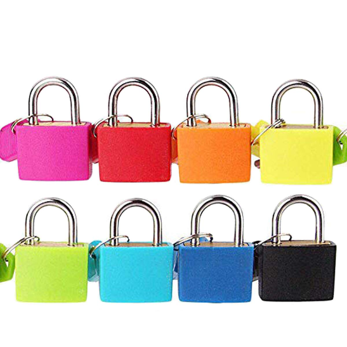 Padlock Security Lock Applies to Lockers Backpacks Computer Bags Toolbox and Other Colorful Colors are Easy to distinguish (8 per Pack)