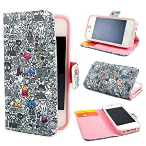 TUTUWEN Wallet PU Leather Stand Flip Case Cover for Apple iphone 4 4S