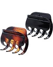 3 Inch Hard Plastic Jumbo Hair Claw Jaw Clip - Set of 2-Black Dark Tortoise