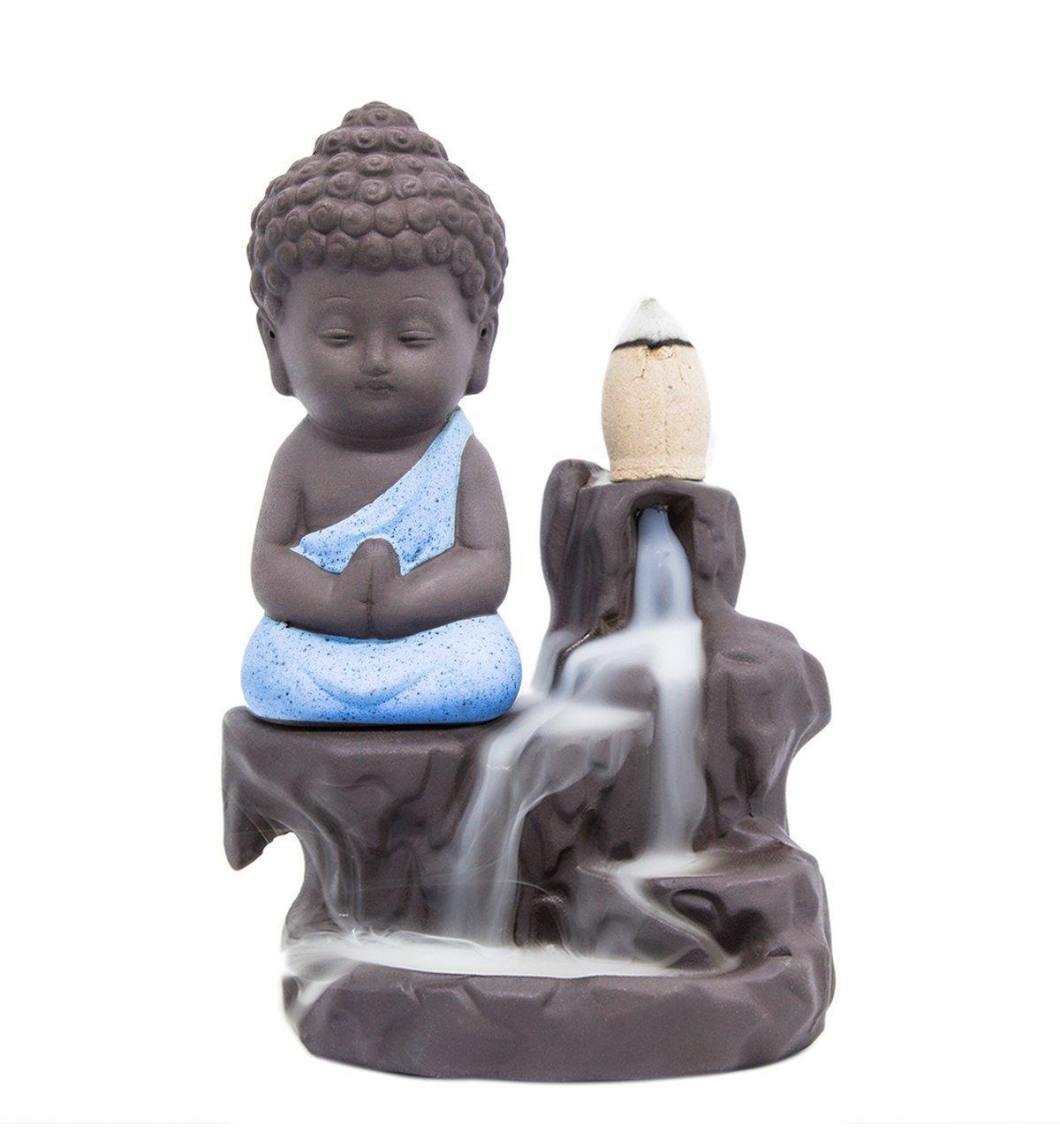 Simon Incense Burner Hand Made Backflow Tower Cones Sticks Little Monk Holder Ceramic Porcelain Buddha (Blue)