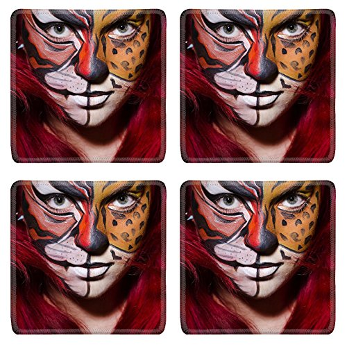 [MSD Square Coasters IMAGE 26880399 Woman with face painting in dark room] (Face Painting For Lion Costume)