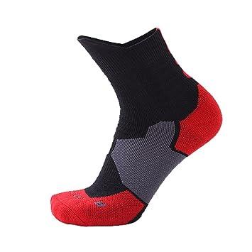 Dilwe Calcetines de Baloncesto 1 par 5 Colores Calcetines Deportivos Elásticos Antideslizantes y Transpirables para Fútbol