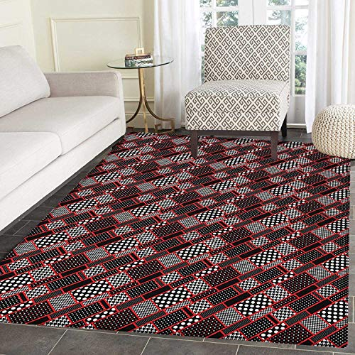 Red and Black Anti-Skid Area Rug Geometric Rectangle Frames Retro Patterns Polka Dots and Houndstooth Door Mat Increase 3'x4' Black White Scarlet