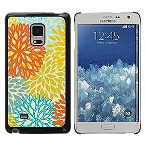 Paccase / SLIM PC / Aliminium Casa Carcasa Funda Case Cover para - Yellow Orange Teal Flowers Pattern - Samsung Galaxy Mega 5.8 9150 9152