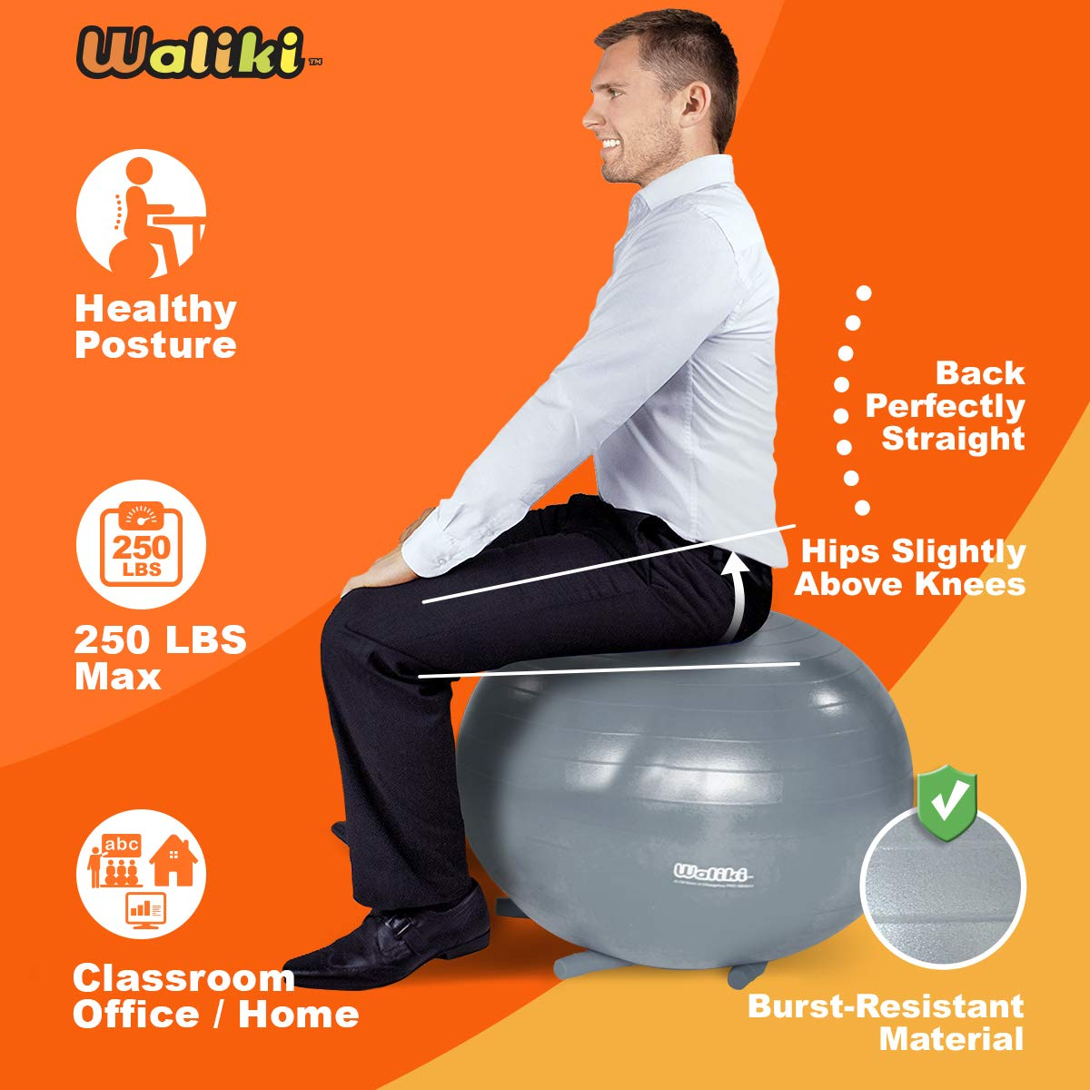 School /& Office Alternative Classroom Seat WALIKI Adult Size Chair Ball with Feet 30//75CM Gray