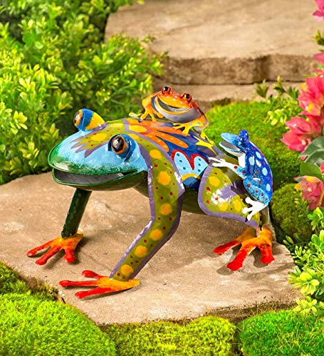 Wind & Weather Metal Mama and Baby Frogs Colorful Metal Sculpture