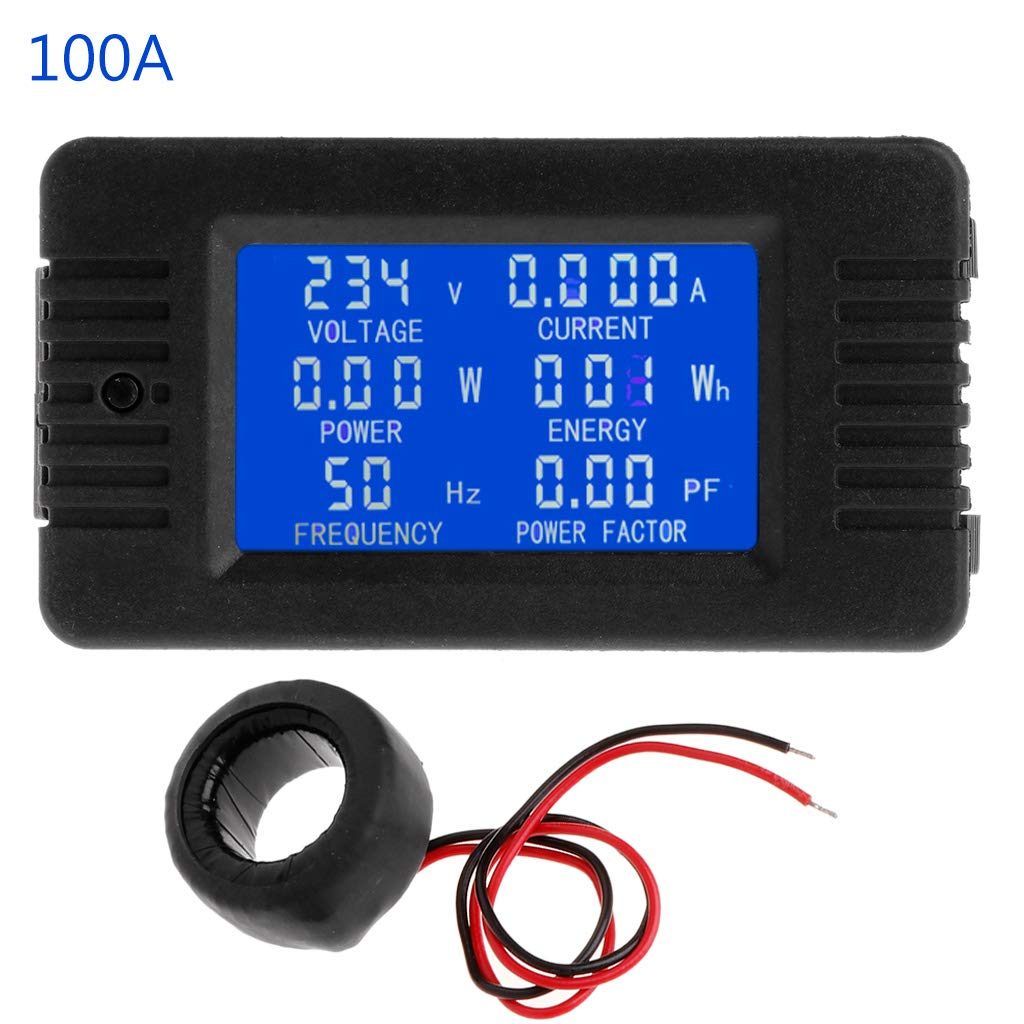 6in1 Digital AC 80~260V Power Energy Monitor Voltage Current KWh Watt Meter 100A by LOLOVI