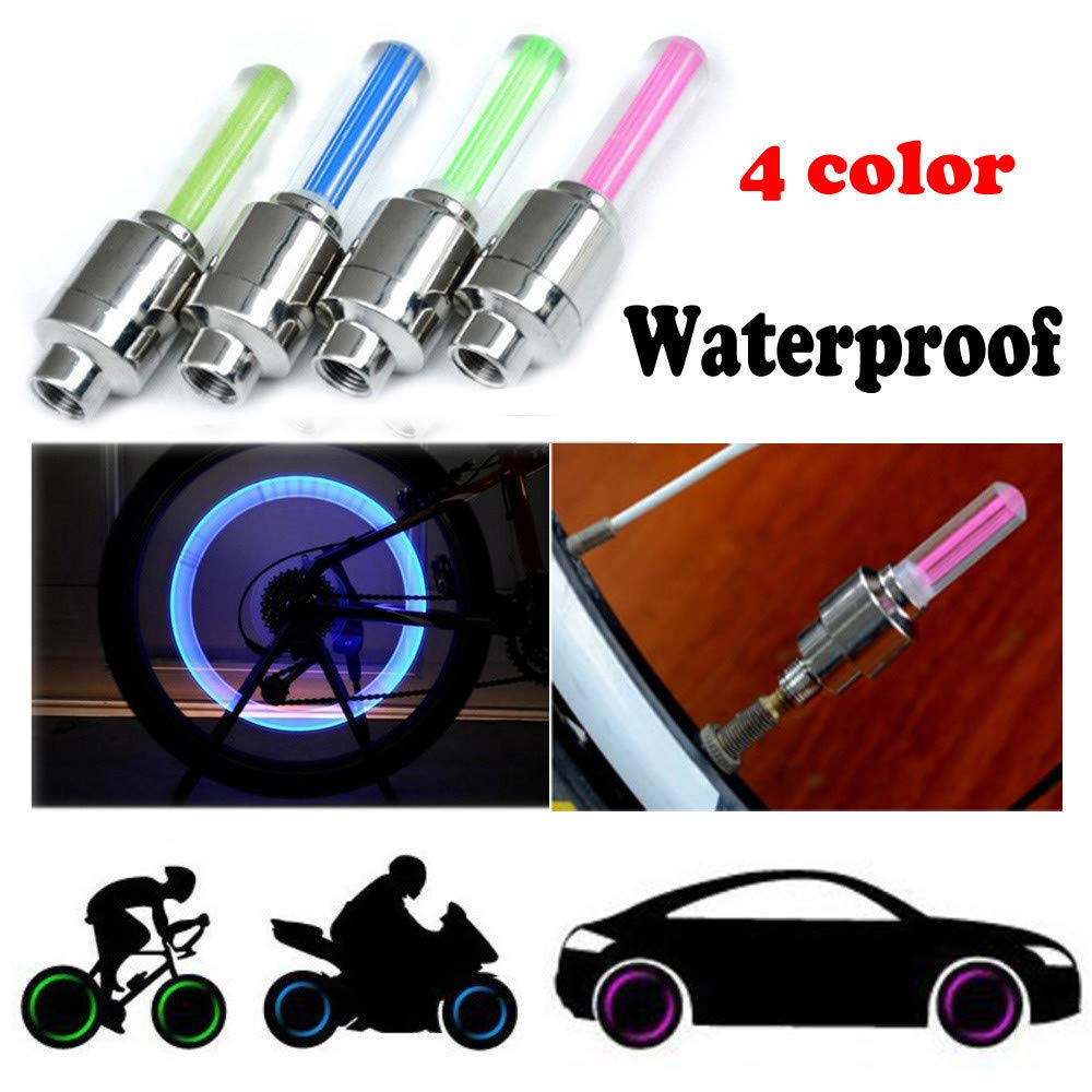 LANGMAN 2PCS Bike Car Motorcycle Wheel Tyre Valve Cap Flash LED Tire Lights Accessories Blue