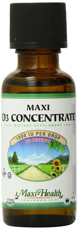 "Maxi Health Vitamin D3 Concentrate Liquid - ""1000 IU"" - Supplement - 1 Fluid Ounce Bottle - Kosher"