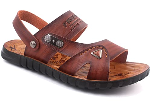 6a31e8156 Femaroly Men s Summer Sports Sandals Outdoor Water Shoes Open Toe Slippers  Brown 5.5UK