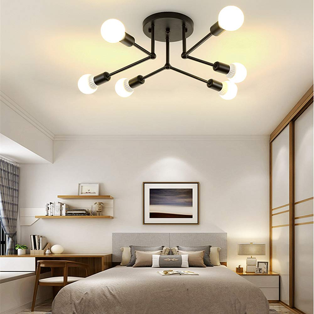 LADIQI 6 Lights Modern Semi Flush Mount Ceiling Light Metal Black Chandelier Close to Ceiling Lighting Fixture for Kitchen Bedroom Living Room