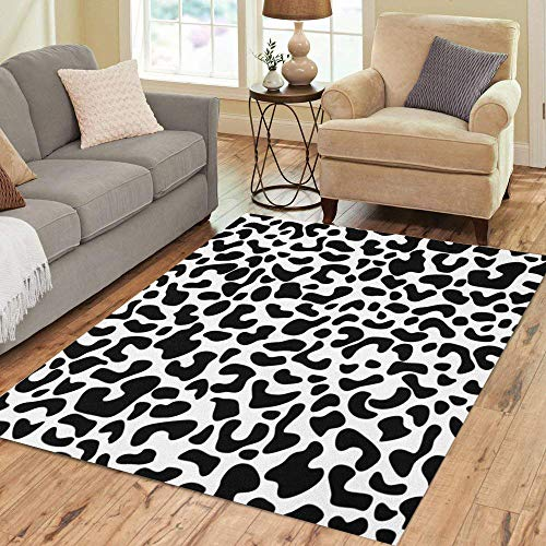 Semtomn Area Rug 5' X 7' Spot Leopard Classical Safari Collection Black on Dalmation Dalmatian Home Decor Collection Floor Rugs Carpet for Living Room Bedroom Dining Room
